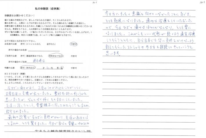 匿名様 堺市堺区 30代 女性 左膝負傷